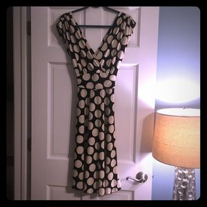 Black With Beige Polka Dots Cocktail Dress
